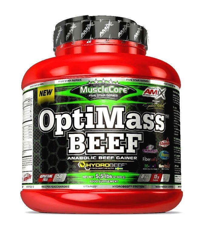 OptiMass Beef Anabolic Gainer - Amix 2500 g Double White Chocolate