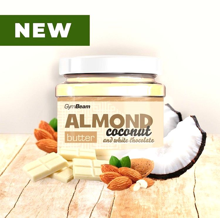 Almond Butter ochutené - GymBeam 340 g Coconut+White Chocolate