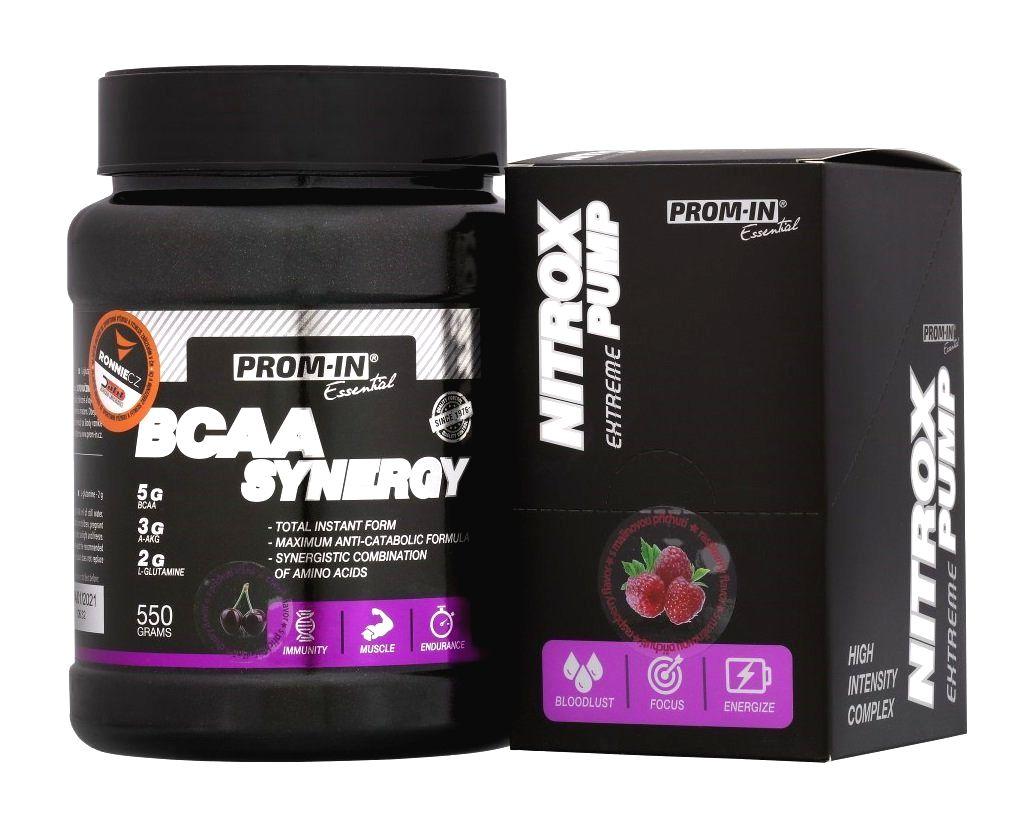 Akcia: BCAA Synergy + Nitrox Pump - Prom-IN 550 g + 10x15 g Orange