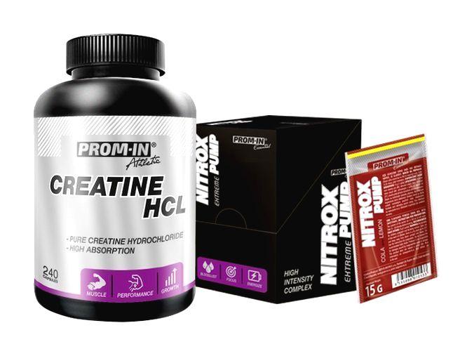 Akcia: Creatine HCL + Nitrox Pump - Prom-IN 240 kaps. + 10x15 g Raspberry
