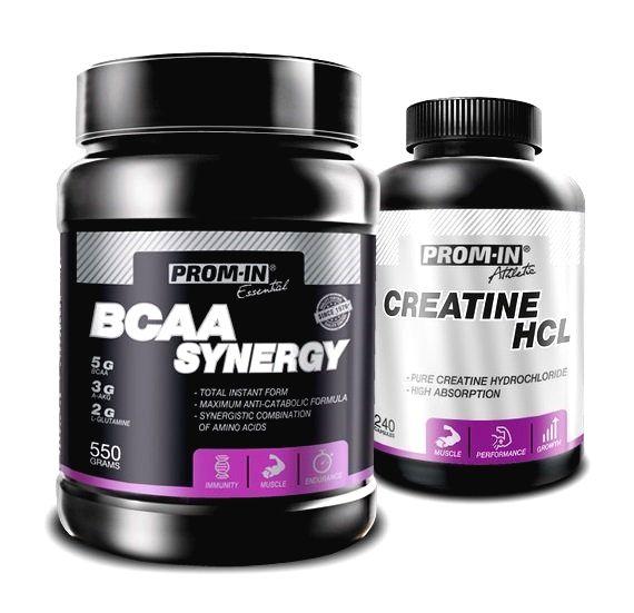 Akcia: BCAA Synergy + Creatin HCL - Prom-IN 550 g + 240 kaps. Melon
