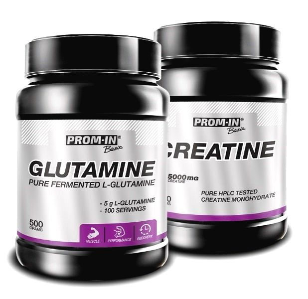 Akcia: Glutamine + Creatine HPLC - Prom-IN 500 g + 500 g
