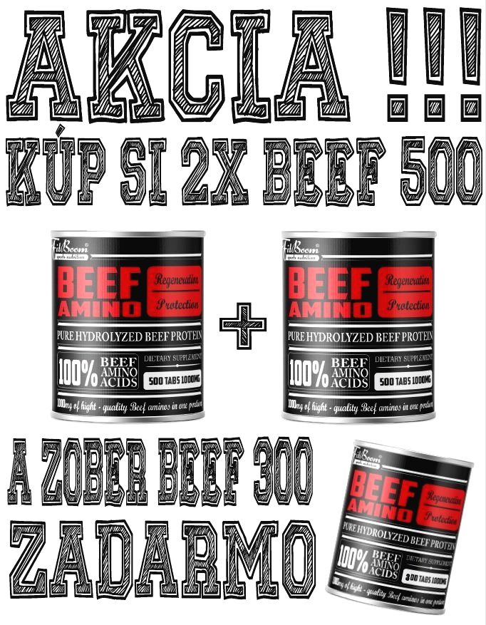 2+1 Zadarmo: Beef Amino - FitBoom 500 tbl. + 500 tbl. + 300 tbl.