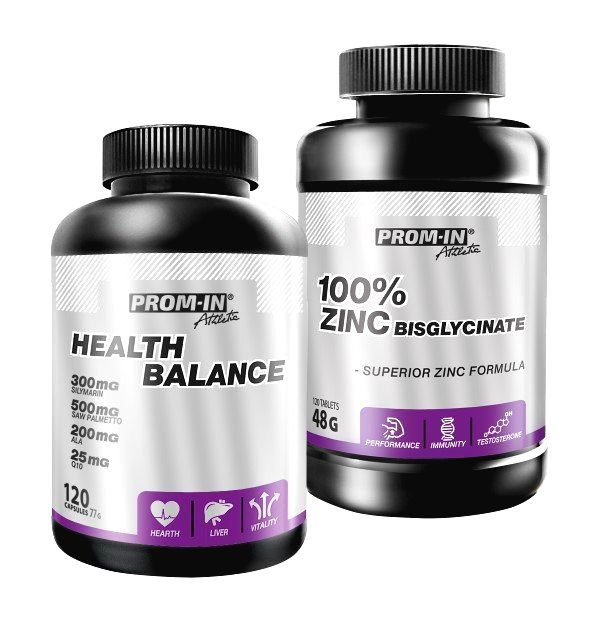 Akcia: Health Balance + 100% Zinc Bisglycinate - Prom-IN 120 kaps. + 120 kaps.