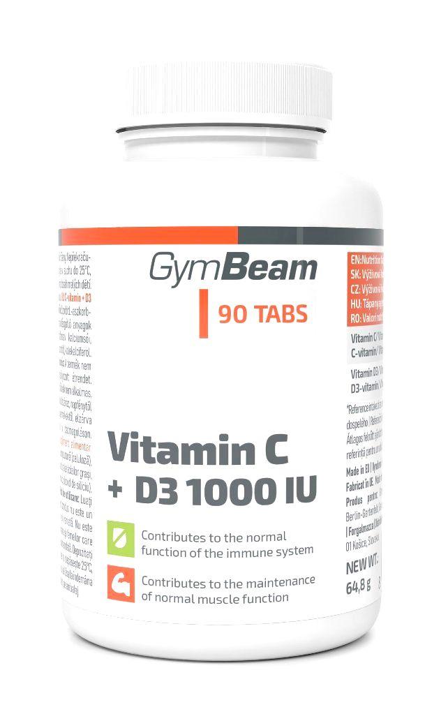 Vitamin C + D3 1000 IU - GymBeam 90 tbl.