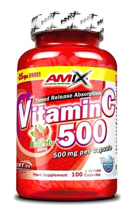 Vitamin C 500 + Rose Hip - Amix 100 + 25 kaps.