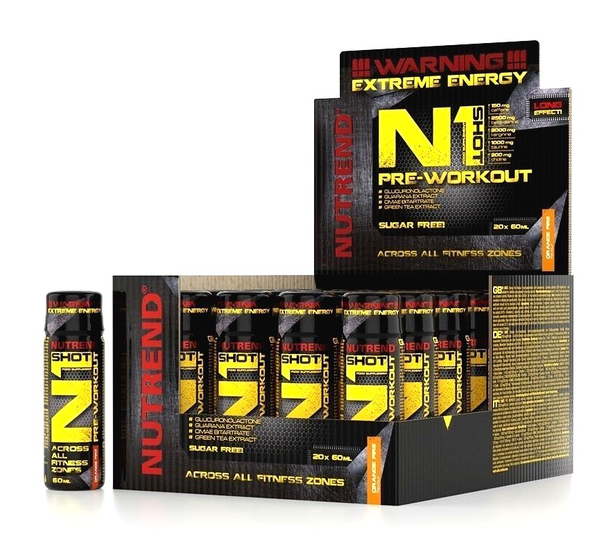 N1 Pre-Workout Shot - Nutrend 20 x 60 ml. Orange